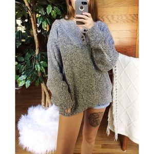 🌿 Vintage Cozy Speckled Henley Knit Sweater 🌿